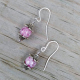 Lilac Pink & Silver Floral Dangle Earrings