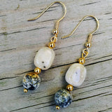 White Peruvian Opal & Upcycled Mossy Dendritic Gemstone Gold Dangle Earrings