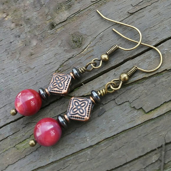 Berry Pink Copper Finish Geometric Dangle Earrings
