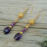 Genuine Amethyst Dangle Earrings w Edwardian Gold Filigree