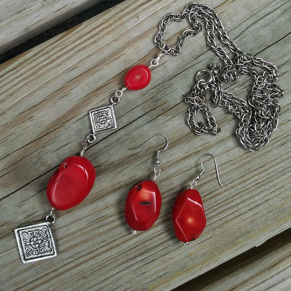 Upcycled Bamboo Coral Chunky Red Statement Earrings & Necklace Set
