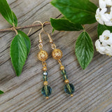 Light Green Round Austrian Crystal Dangle Earrings w Edwardian Gold Filigree