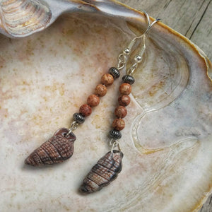Beach Lovers Upcycled Stone & Vintage Shell Earrings