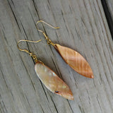 Upcycled Long Shell Dangle Earrings on Gold