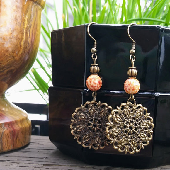Burnt Orange Spanish Filigree Boho Chic Statement Earrings