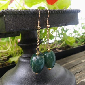 Upcycled Green Stone Gold Chain Drop Earrings