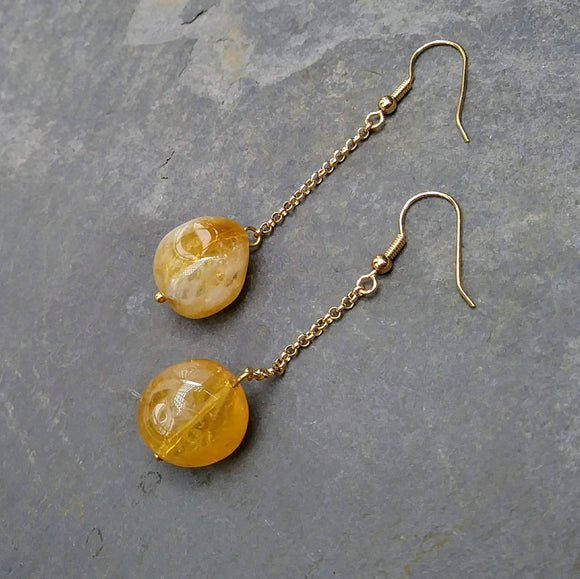 Upcycled Chunky Yellow Gemstone Chain Drop Earrings