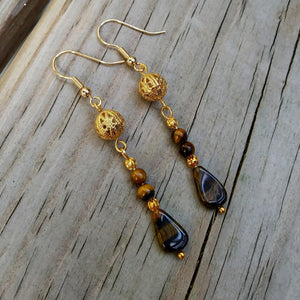 Natural Tigers Eye Dangle Earrings w Edwardian Gold Filigree
