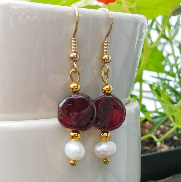 Simple Pearl & Garnet Gold Dangle Earrings