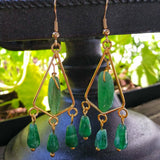 Dark Green Aventurine Gold Triangle Chandelier Earrings
