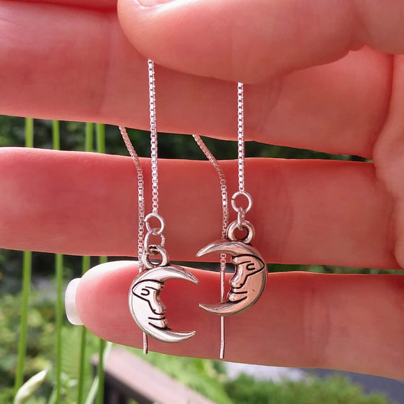 Man in the Moon Threader Earrings - 4 inch 0.925 Sterling Silver Threads