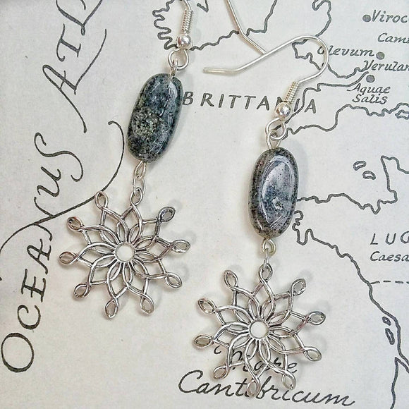 Sterling Silver Vintage Starbursts w Spotted Gray Quartz Dangle Earrings