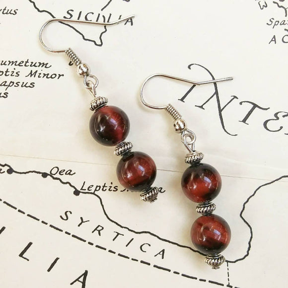 Double Red Tigers Eye Stacked Silver Dangle Earrings