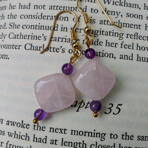 Rose Quartz Gold Dangle Earrings w Amethyst