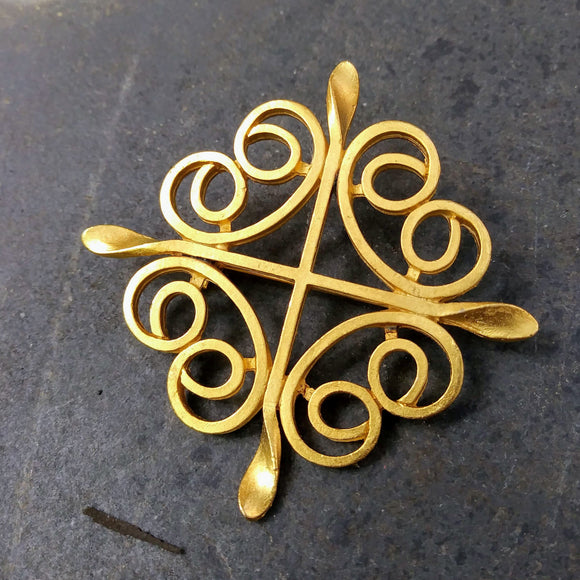 Goldtone Cross Vintage Brooch