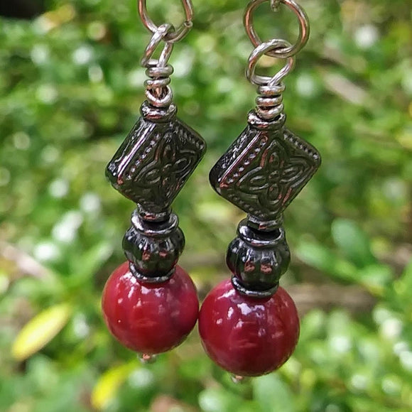 Berry Pink Gunmetal Finish Geometric Dangle Earrings