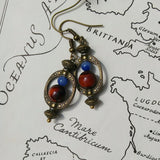 Red Tigers Eye Earrings w Natural Blue Aventurine Steampunk Hoop Earrings