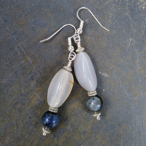 Blue Dumortierite & Upcycled White Stone Statement Earrings