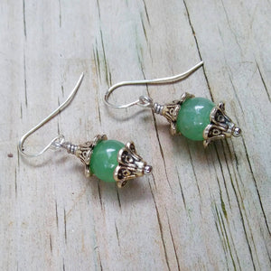Green Aventurine & Silver Floral Dangle Earrings