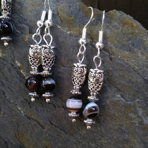 Small Banded Agate Silver Owl Dangle Earrings