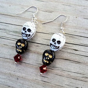 Black Skull White Skull Dangle Earrings with Red Austrian Crystals