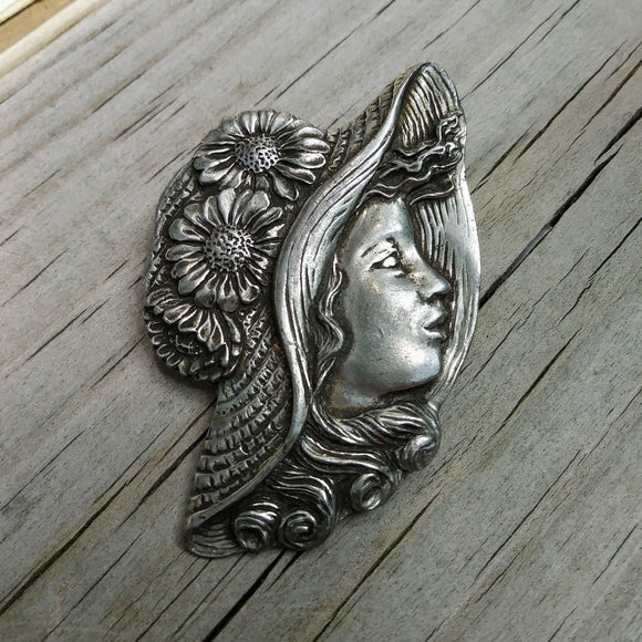Vintage Brooch, Signed by Seagull Pewter of Canada: Girl with Flower Straw Hat