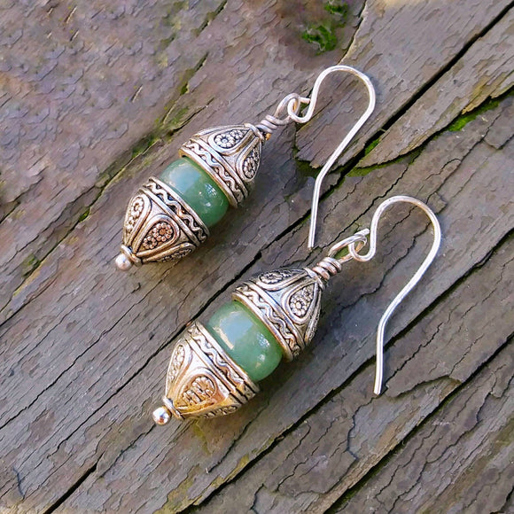 Medieval Gothic Cathedrals Green Aventurine Dangle Earrings