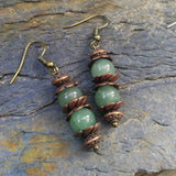 Green Aventurine Stacked Fidget Earrings w Antiqued Copper Finish