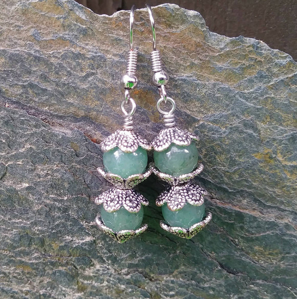 Green Aventurine Stacked Fidget Earrings w Antiqued Silver Finish