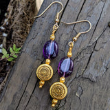 Gold Sunburst Amethyst Dangle Earrings