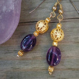 Deep Purple Amethyst & Edwardian Gold Filigree Dangle Earrings