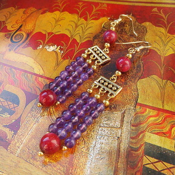 Minoan Falls Amethyst Earrings