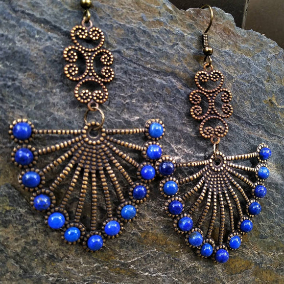 Etruscan Revival Lapis Lazuli Fan Statement Earrings