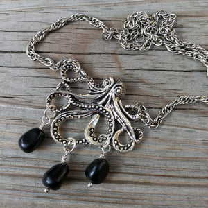 Black Obsidian Silver Kraken Octopus Necklace  on Thick Silver Rope Chain