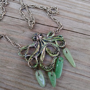 Green Aventurine Hand-Painted Kraken Octopus Necklace on Thick Silver Rope Chain