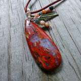 Jasper Feathers Natural Stone Pendant with Custom Cord Necklace
