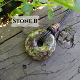 30mm Dragon Blood Jasper Stone Donut on black waxed cotton cord