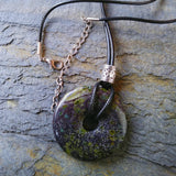 40mm Dragon Blood Jasper Stone Donut on black waxed cotton cord