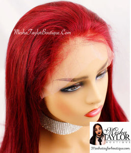 Brazilian Red Wine, 100% Human Lace Frontal Wig