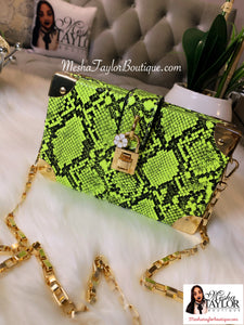 Snakeskin Pattern Box Shoulder Bag