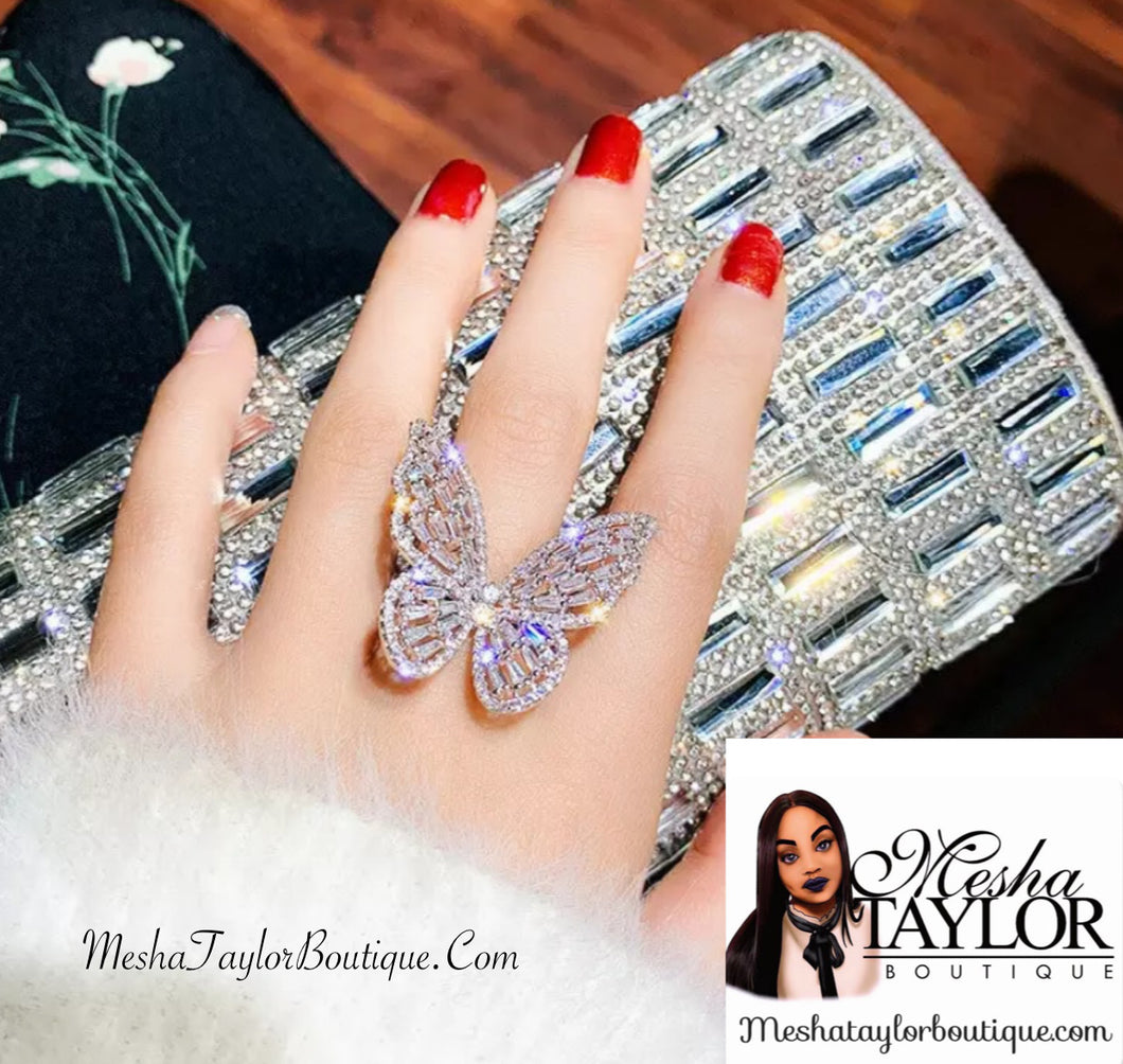 Iced Out Crystal Butterfly Ring