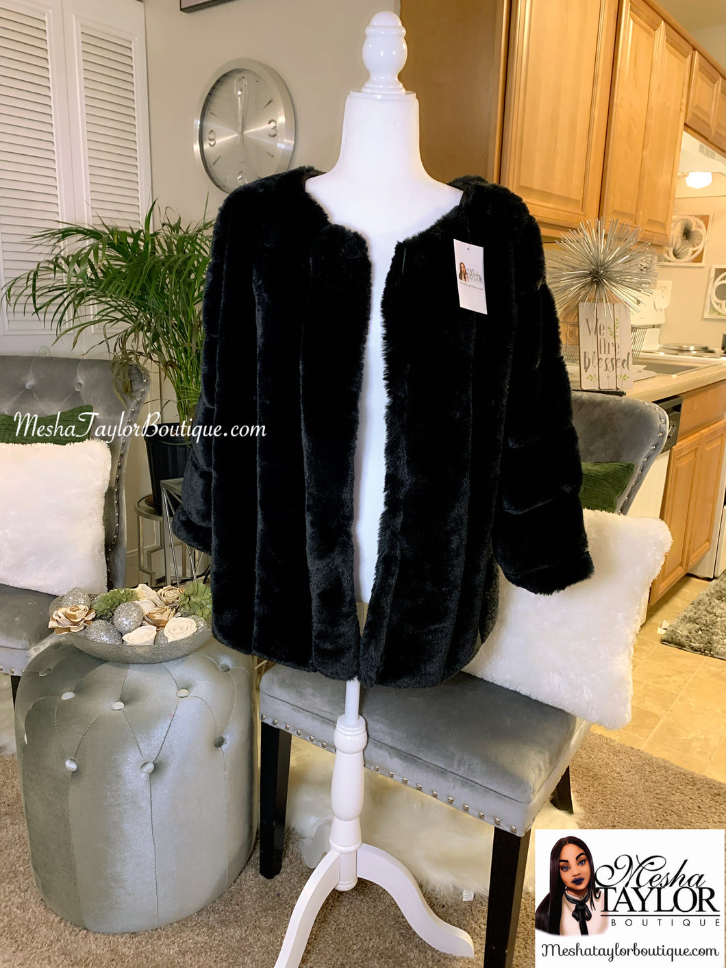 Black Luxury Faux Fur Coat