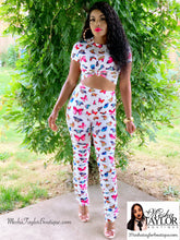 Load image into Gallery viewer, 2 Piece Butterfly Crop Top Tracksuit set.