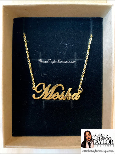 18K Custom Name Plate Necklace