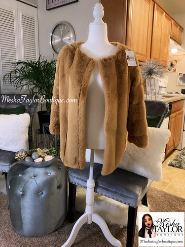Camel Luxury Faux Fur Coat