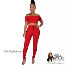 Load image into Gallery viewer, 2 Piece off the shoulders crop top tracksuit set