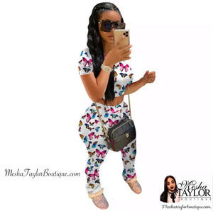 2 Piece Butterfly Crop Top Tracksuit set.