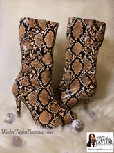 Load image into Gallery viewer, Camel Snakeskin Luxury Mid Calf Boots