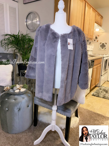 Gray Luxury Faux Fur Coat
