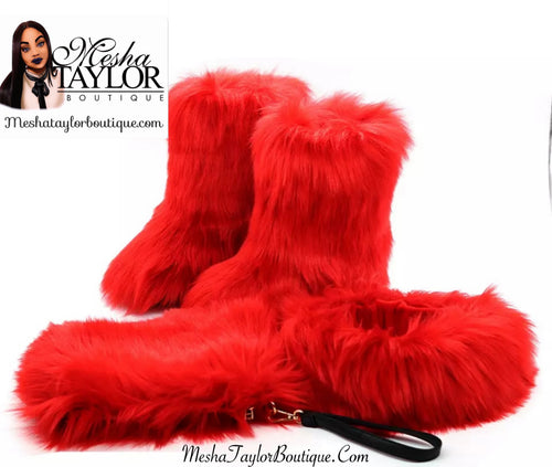 Winter Fur Boots, Bag & Headband Set
